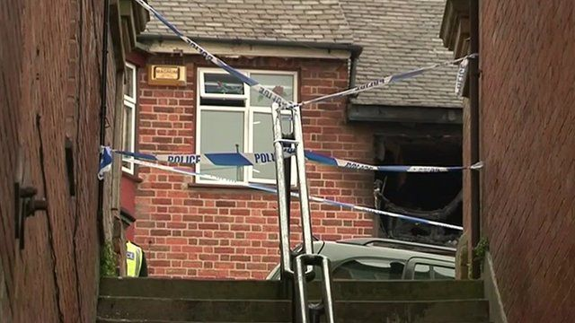 Leicester house fire scene