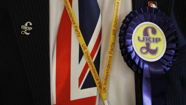 Delegate wearing UKIP badges and Union Jack tie