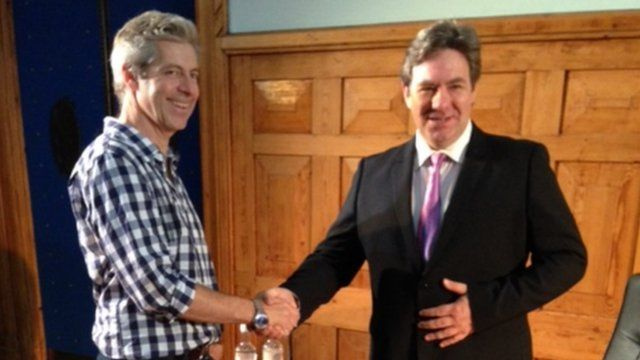 Justin Webb and Ian Grieve who plays Gordon Brown