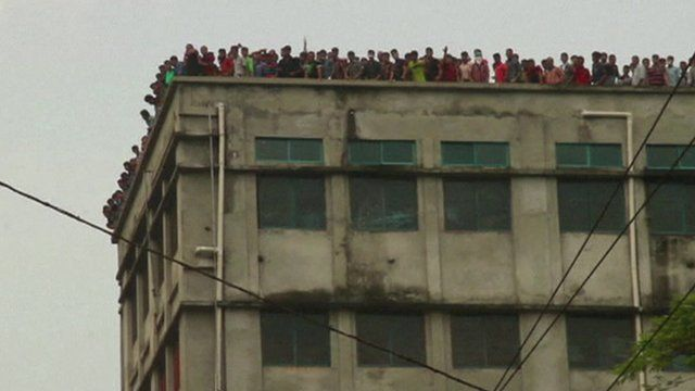 Factory protest in Dhaka