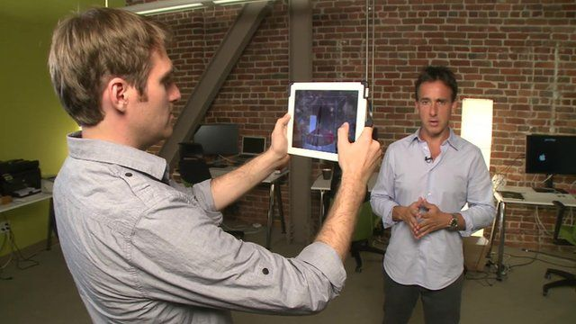 Jeff Powers from Occipital takes a 3D image of Rich Taylor.