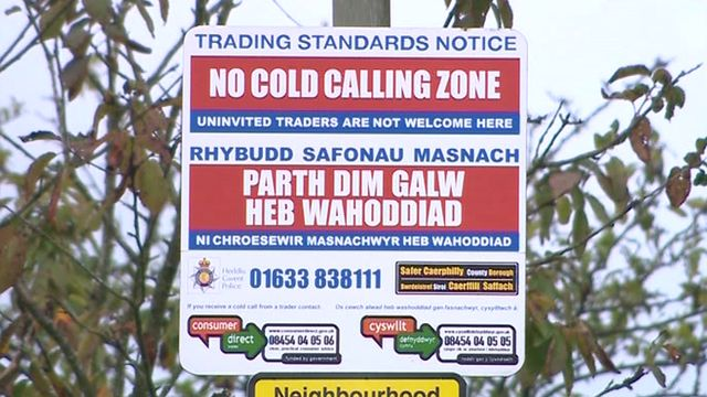 'No cold calling zone' sign