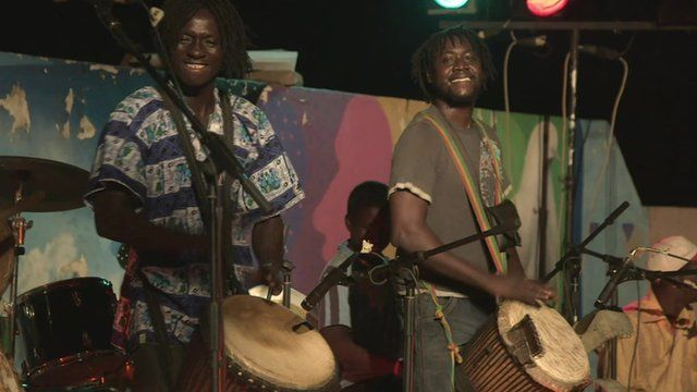 Malian musicians perform for the Africa Express