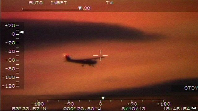 Footage from RAF helicopter showing light aircraft
