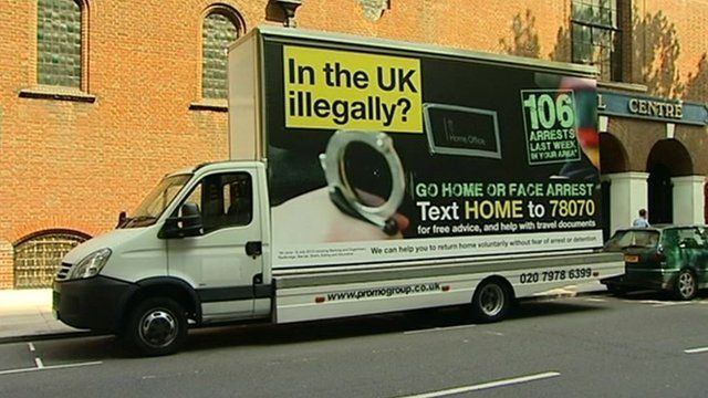 """Mobile advert with """"go home"""" message"""