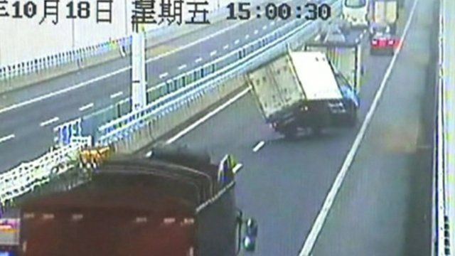 Truck swerving on a motorway