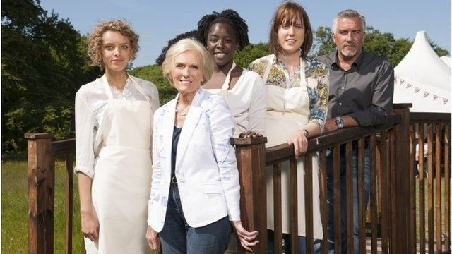 (left to right) Ruby Tandoh, Mary Berry, Kimberley Wilson, Frances Quinn and Paul Hollywood