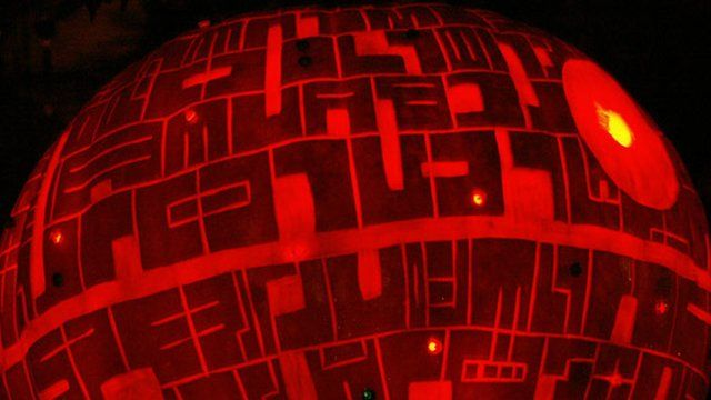 Pumpkin carved into a Death Star
