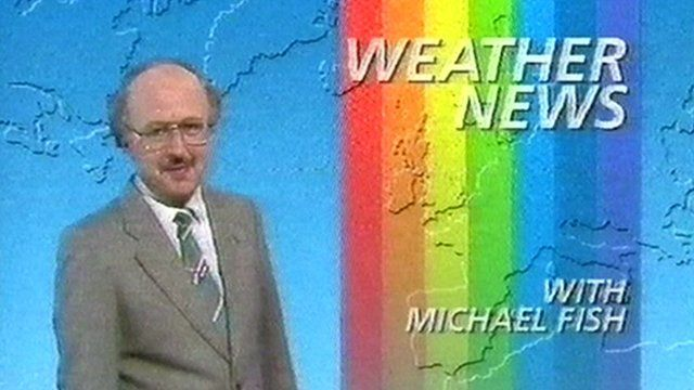 Michael Fish presenting the 1987 BBC Weather programme