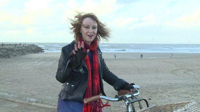 The BBC's Anna Holligan rides her bike