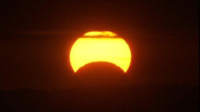 A solar eclipse as seen from Washington DC