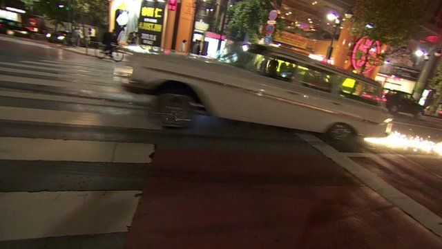 Car and sparks on Tokyo street