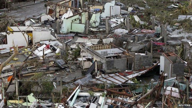 Damaged houses in Tacloban