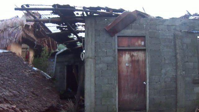 Damage in Mrs Alavarta-Hughes' home village