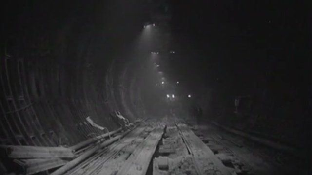 The first Dartford tunnel under construction