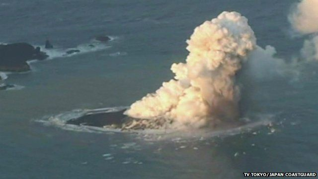 Volcanic eruption creates island in Japan