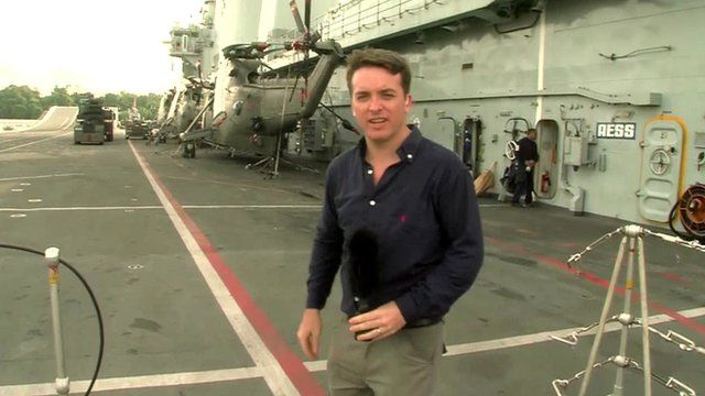 The BBC's Jonah Fisher reports from HMS Illustrious, docked in Singapore