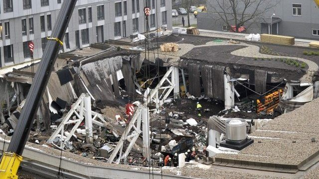 Collapsed supermarket roof in Riga