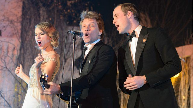 Prince William singing with Bon Jovi and Taylor Swift