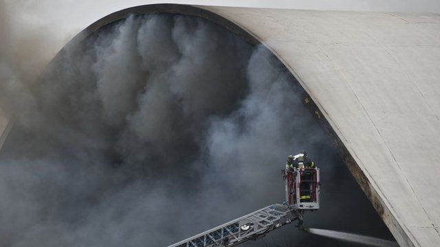 The Latin America Memorial auditorium on fire