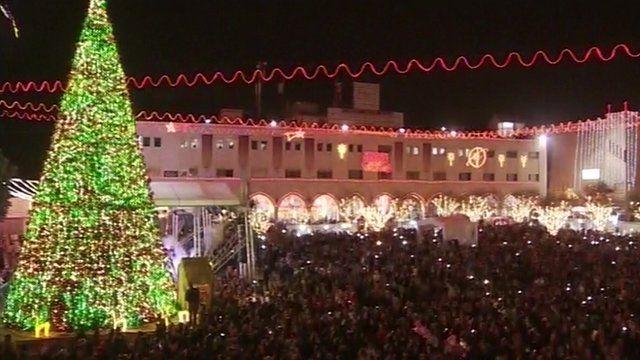 Christmas tree outside the Church of the Nativity, Bethlehem