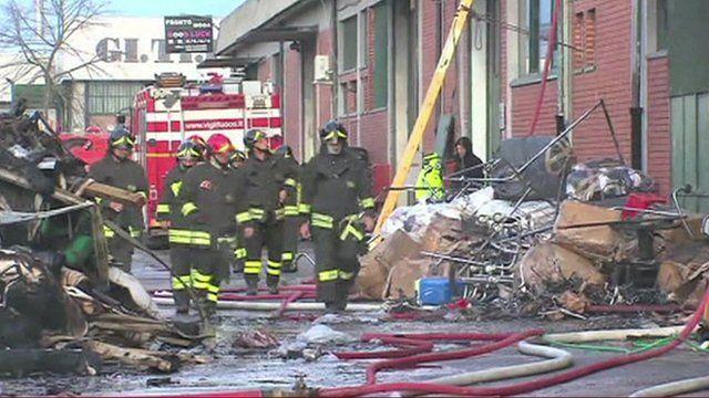 Fire crews at the scene in Prato