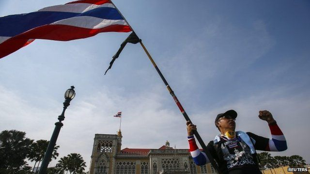Protester with flag in Thailand