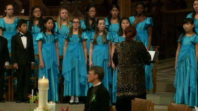 A choir perform at Washington's National Cathedral
