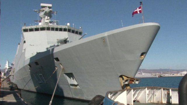 Warship flying Danish flag