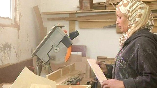 Jordan's first professional female carpenter Aida Al Qurna in her workshop