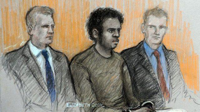 Sketch of Michael Adebowale in court