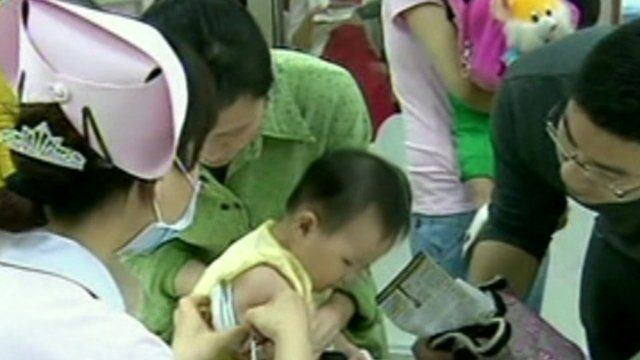 Baby having vaccination in China