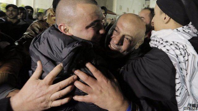 Released prisoner hugged by relatives