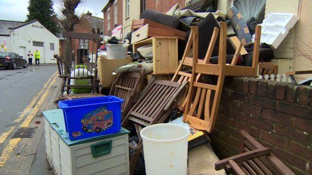 Flood-damaged house contents