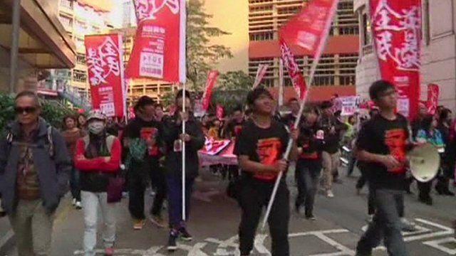 Protestors on the streets of Hong Kong
