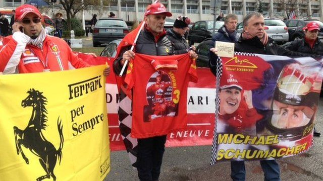 Schumacher fans with banners (3 Jan 2014)