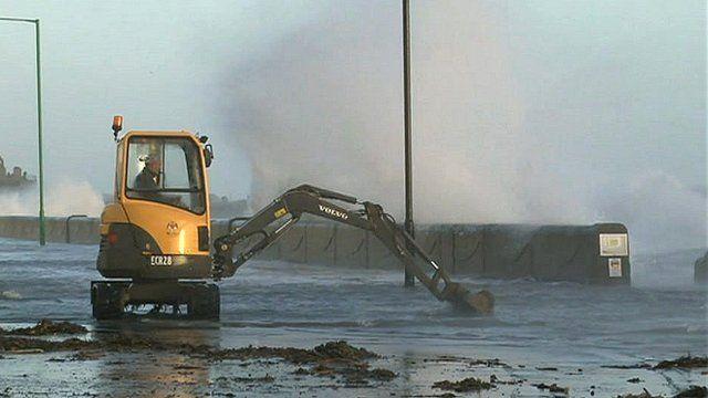 Castletown Promenade flooded during high tide