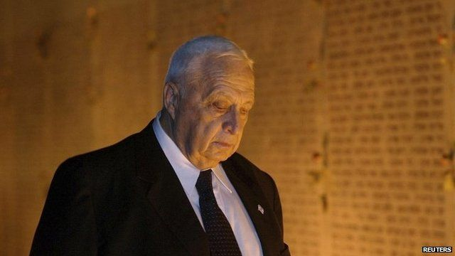 Israeli Prime Minister Ariel Sharon at a memorial ceremony in October 2002