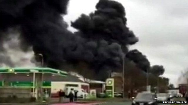 Smoke billows from the scene of the blaze in Buckinghamshire