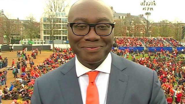 Komla Dumor reporting from the Netherlands