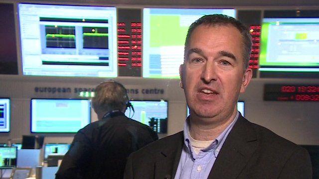 Jonathan Amos in Rosetta's Darmstadt control room