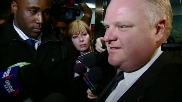 Rob Ford answers reporters questions