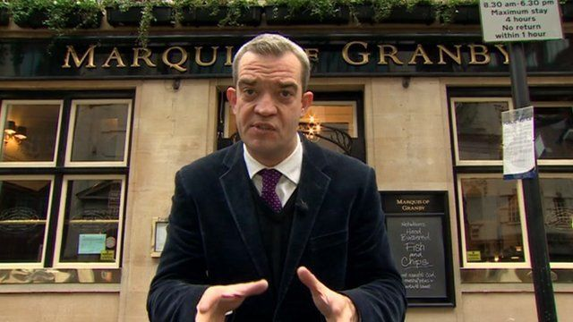 Giles Dilnot outside Westminster pub
