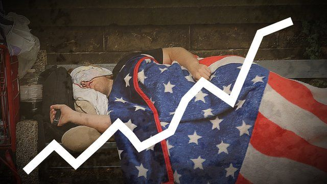 Illustration with homeless man sleeping underneath American flag blanket