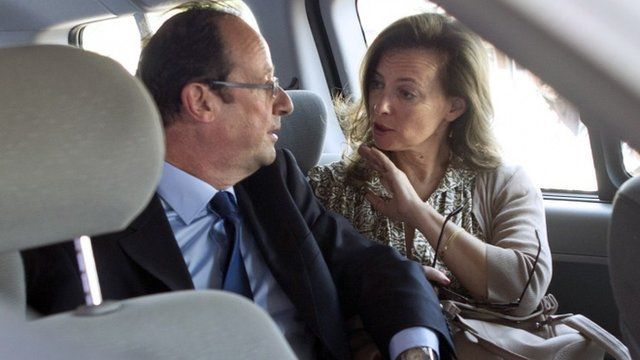 French President Francois Hollande and his first lady, Valerie Trierweiler