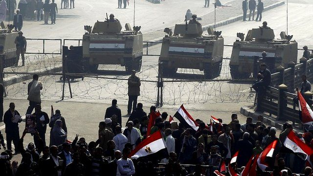 Egyptian security forces near Cairo's Tahrir Square