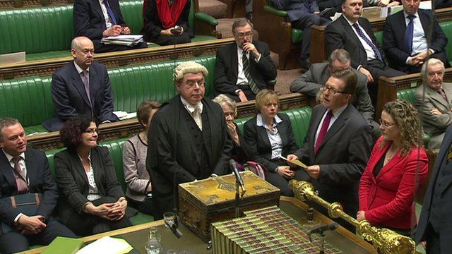 Vote results being read in the House of Commons