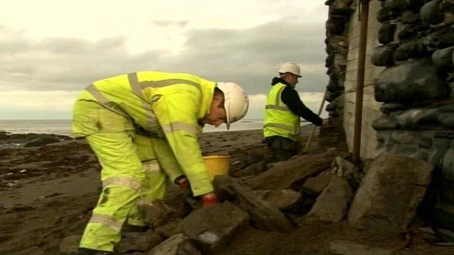 Seafront repairs in Aberystwyth