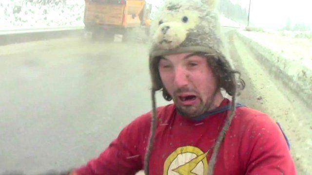 Jamie McDonald encounters a gritting lorry on his run