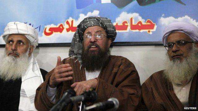 Taliban negotiators during a news conference